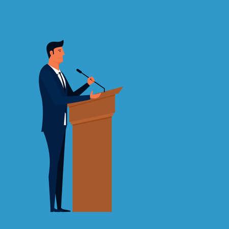 public speaker: Public Speaker. Businessman speaking on podium giving public speech. Cartoon Vector Illustration.