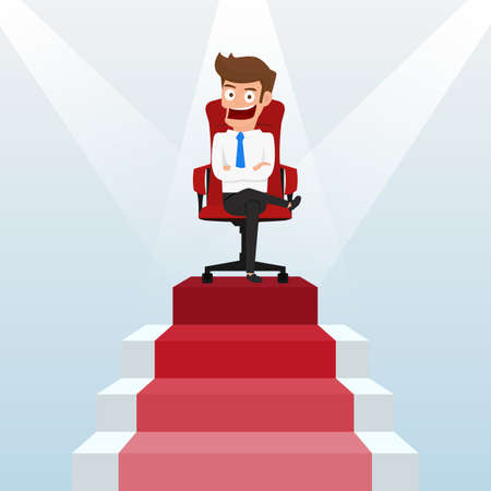 glad: Businessman going up to success, staircase to success. Scene illuminated by a spotlight. Cartoon Vector Illustration.