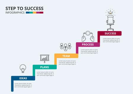 paso de la escalera del éxito. Escalera con iconos y elementos para el éxito. Puede ser utilizado para la infografía, bandera, diagrama, intensificar opciones. Ilustración del vector.