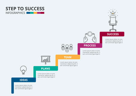 Stair step to success. Staircase with icons and elements to success. Can be used for infographic, banner, diagram, step up options. Vector Illustration.