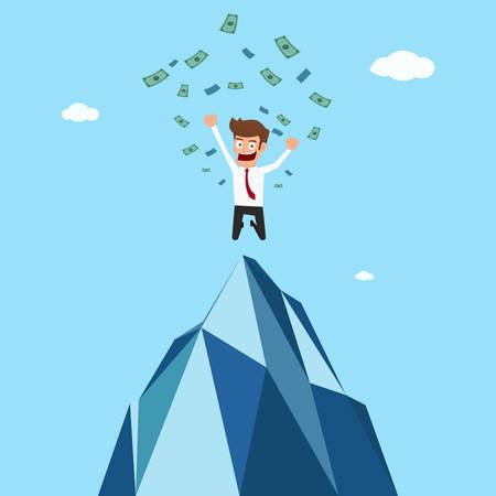 more money: Happy businessman successful jumping on top of mountain and get more money. Cartoon Vector Illustration