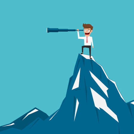 business trends: Businessman stand on top of mountain using telescope looking for success, opportunities, future business trends. Vision concept. Cartoon Vector Illustration.