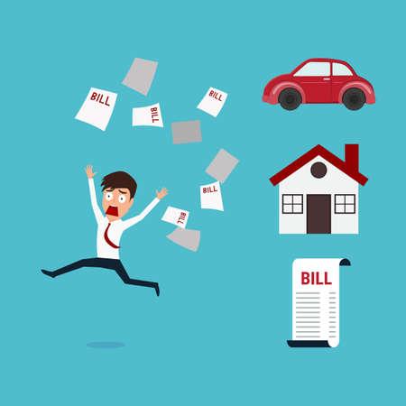 paying bills: Businessman running away from a lot of bill. Businessman no money. Financial concept. Cartoon Vector Illustration.
