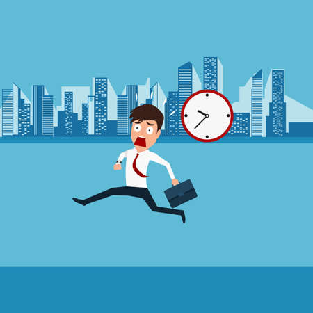 late: Businessman hurry running going to work. Late time. Cartoon vector Illustration
