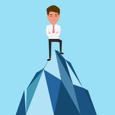 Successful businessman standing on top of mountain. Success concept. Cartoon Vector Illustration.
