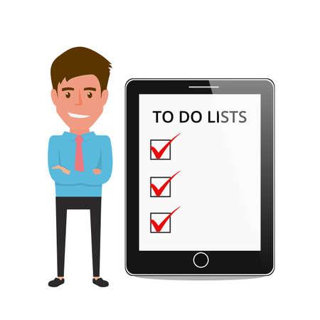 hombre escribiendo: Hombre de negocios muestra listas de tareas pendientes en la pantalla de la tableta. Ilustración vectorial de dibujos animados.
