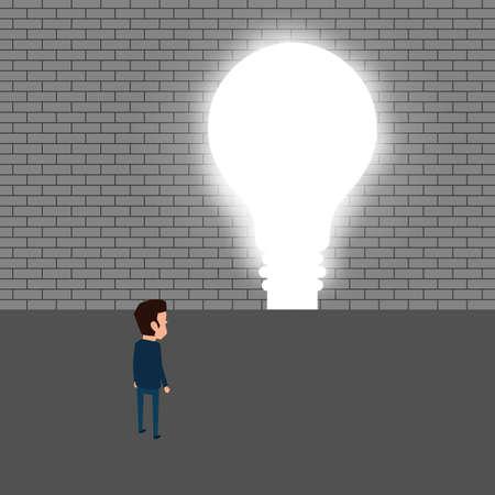trough: Businessman breaking trough a wall with idea. Cartoon Vector Illustration Illustration