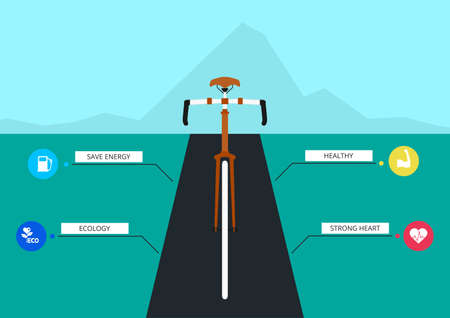 advantages: The benefits of cycling. Bicycle infographics template. Vector Illustration.