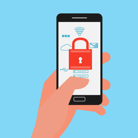password: Flat design data security. Hand holding smartphone protect sensitive data. Internet security. useful for anti phishing and internet viruses campaigns. Vector Illustration.