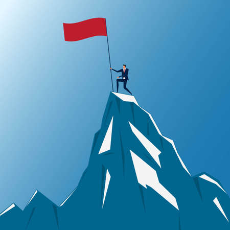 accomplishments: Successful businessman holding flag on top of mountain. Success concept. Cartoon Vector Illustration.