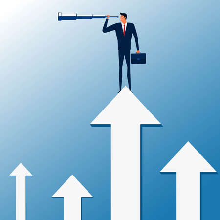 business trends: Businessman stand on graph arrow using telescope looking for success, opportunities, future business trends. Vision concept. Cartoon Vector Illustration.