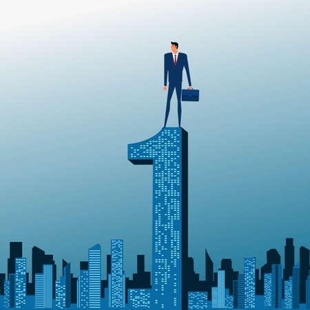 no1: Businessman stand on top of building. City skyline. Success concept. Cartoon Vector Illustration.