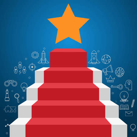 Stair step to star shape with icons and element. Staircase to success. Cartoon Vector Illustration.