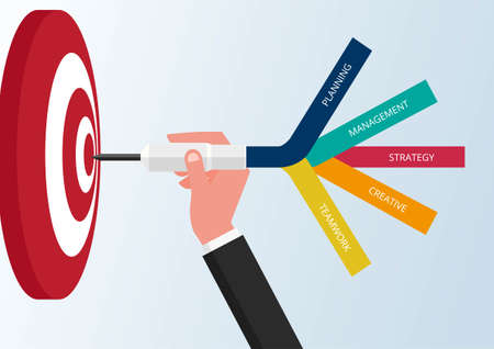 Goal setting. Smart goal. Business target concept. Hand holding dart to target. Vector Illustration.