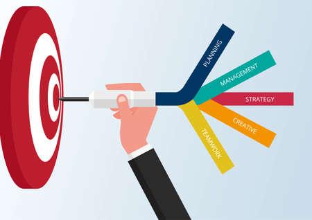 Goal setting. Smart goal. Business target concept. Hand holding dart to target. Vector Illustration.