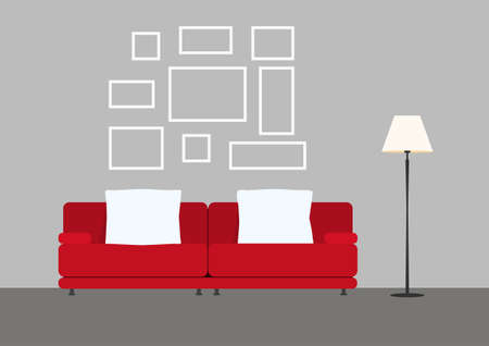 living room design: Living room interior with sofa lamp and picture frame. Furniture in living room. Flat design style. Vector Illustration. Illustration