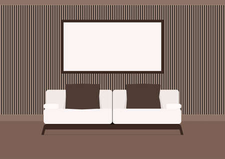 living room interior: Living room interior with sofa and picture frame. Furniture in living room. Flat design style. Illustration.