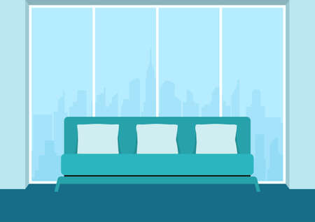 living room design: Living room interior with sofa and window. Furniture in living room. Flat design style. Vector Illustration. Illustration