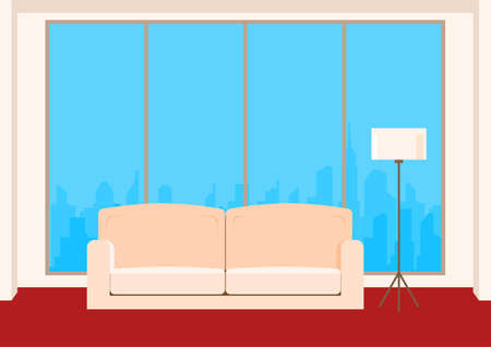 living room design: Living room interior with sofa lamp and window. Furniture in living room. Flat design style. Vector Illustration.