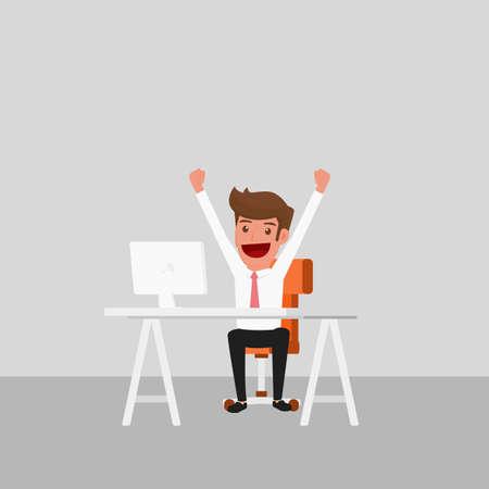Homme d'affaires travaillant sur ordinateur. Heureux et réussie. Cartoon Vector Illustration. Banque d'images - 61073677