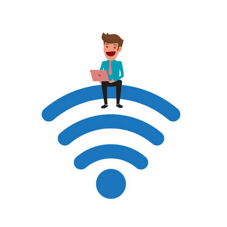 wireless connection: Businessman sitting on the wireless and using laptop. Wireless zone wireless connection technology. Internet wireless support business and lifestyle. Cartoon Vector Illustration. Illustration