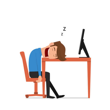 bored man: businessman was asleep during work. Tired businessman at work. Flat design style. Cartoon Vector Illustration.