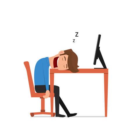 overwork: businessman was asleep during work. Tired businessman at work. Flat design style. Cartoon Vector Illustration.
