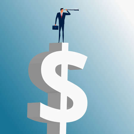 business trends: Businessman standing on money building and using telescope looking for success, opportunities, future business trends. Vision concept. Cartoon Vector Illustration. Illustration