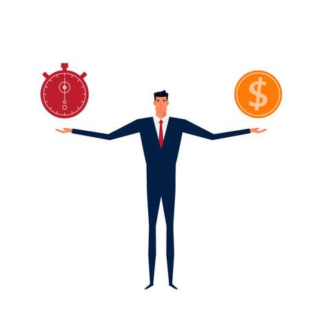 money time: Businessman balance time and money. Time is money concept. Cartoon Vector Illustration. Illustration