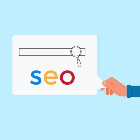 search engine optimization: Hand holding SEO message. Search engine optimization marketing. SEO concept. Vector Illustration. Illustration