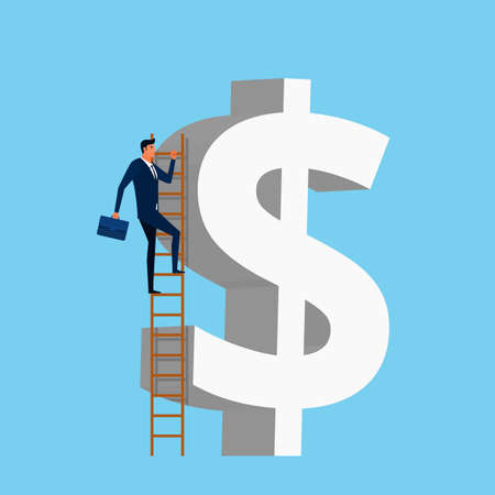 ladder: Businessman using a stairs climb to reach dollar shape building. Stair step to success. Success concept. Cartoon Vector Illustration.
