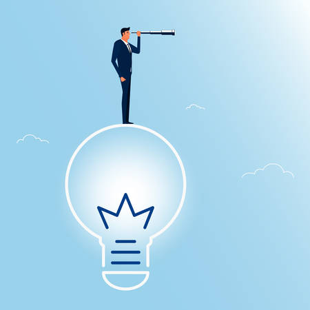 future business: Businessman standing on big idea using telescope looking for success, opportunities, future business trends. Vision concept. Cartoon Vector Illustration.