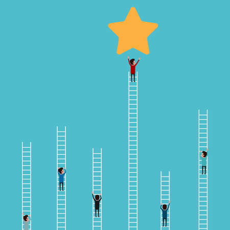 climb: Businessman climbing ladder to star and success. Competition and business concept. Cartoon Illustration. Illustration