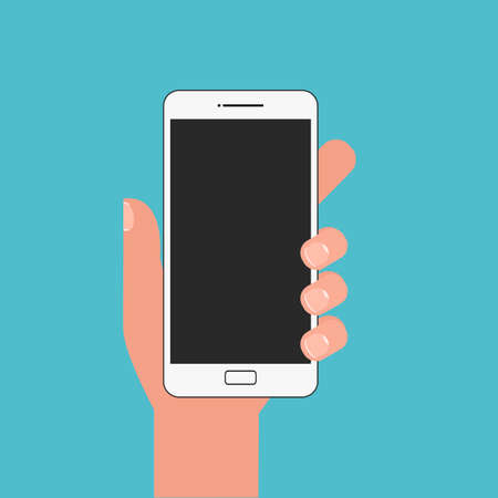 smartphone in hand: Flat design style. Hand holding smartphone. Cartoon Illustration. Illustration