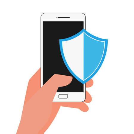 stealing data: Flat design data security. Hand holding smartphone protect sensitive data. Internet security. useful for anti phishing and internet viruses campaigns. Illustration.