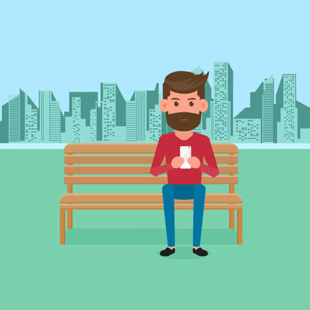 communication cartoon: Man sitting on bench in the park and holding smartphone. Online communication. Cartoon Illustration.