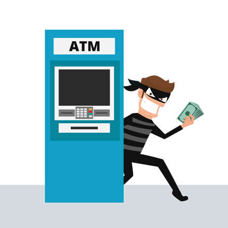 Thief. Hacker stealing money from ATM machine. Cartoon Illustration. Illustration