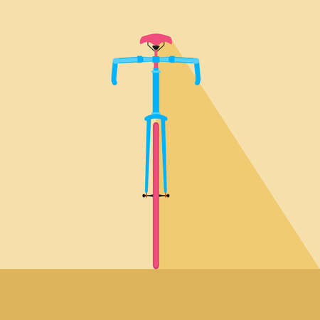 front view: Bicycle front view. Flat design style bicycle. Cartoon Illustration.