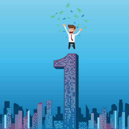 no1: Happy businessman successful with money flowing in the air jumping on top of building. City skyline. Success concept. Cartoon Illustration. Illustration