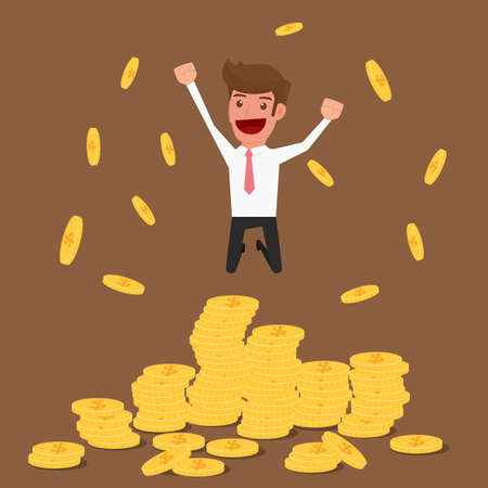successful businessman: Successful businessman jumping on gold coins, Illustration Illustration