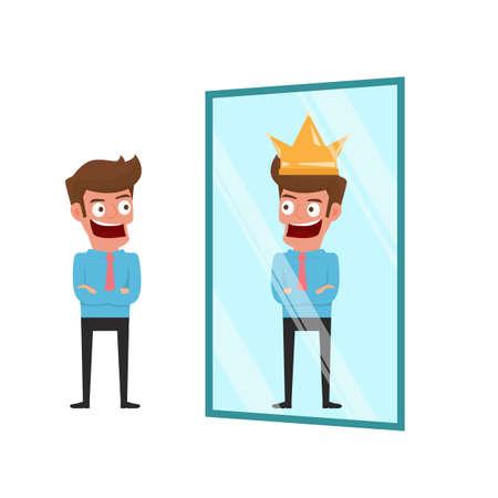 Imprenditore in piedi davanti allo specchio vede riflesso successo. Concetto di business di successo. Illustrazione del fumetto.