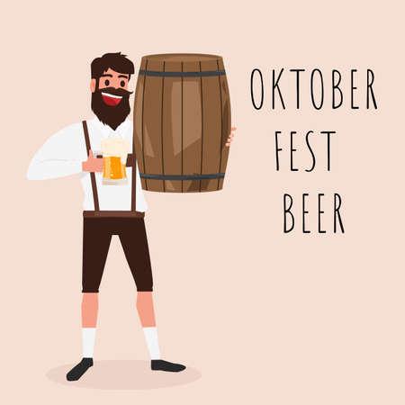 Man holding wooden barrel and glass of beer. Oktoberfest beer Festival Banner. Cartoon Vector Illustration.