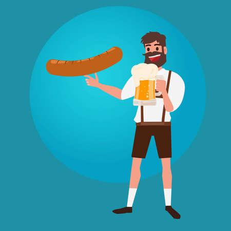 Man holding glass of beer and sausage. Oktoberfest beer Festival Banner. Cartoon Vector Illustration. Illustration
