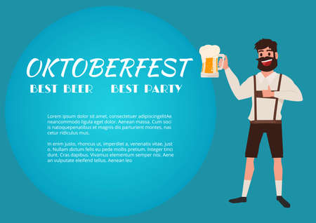 lager beer: Man holding beer glass. Oktoberfest beer Festival Banner. Cartoon Vector Illustration.