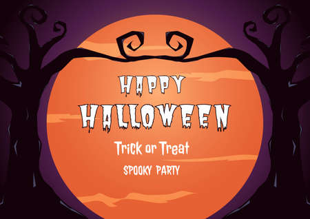 gnarled: Halloween spooky party with full moon and gnarled tree design background.  Cartoon Vector Illustration. Illustration