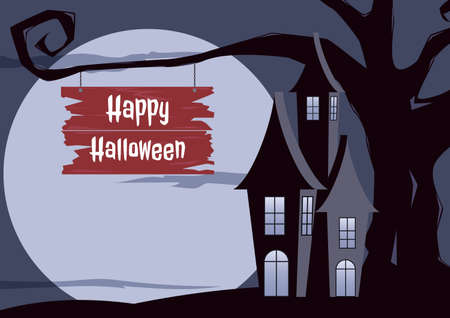 gnarled: Halloween background. Halloween dark castle gnarled tree with full Moon design background. Cartoon Vector Illustration.