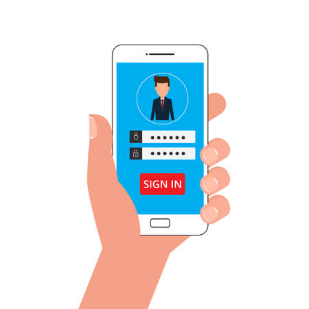 smartphone: Hand holding smartphone. Sign in page on smartphone screen. Mobile phone with password login security protection. Mobile account. Cartoon Vector Illustration.