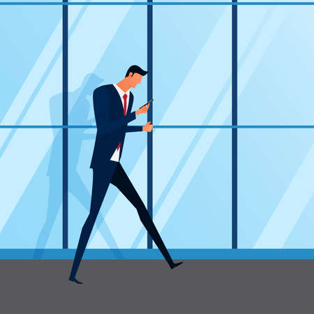 human touch: Smartphone addiction. Attractive young businessman using smartphone walking in front of a modern office building. Cartoon Vector Illustration.