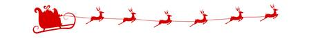 Red Silhouette. Santa claus flying with reindeer sleigh. Cartoon Vector Illustration. Stock Illustratie