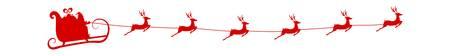 Silhouette Rouge. Père Noël avec des rennes volants traîneau. Cartoon Vector Illustration. Banque d'images - 66437976